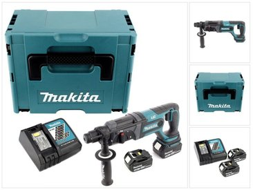 Makita DHR 241 18 V Li-ion Perforateur-Burineur sans fil SDS-Plus avec Boîtier Makpac + 2x Batteries BL 1850 5,0 Ah + Chargeur rapide DC 18 RC