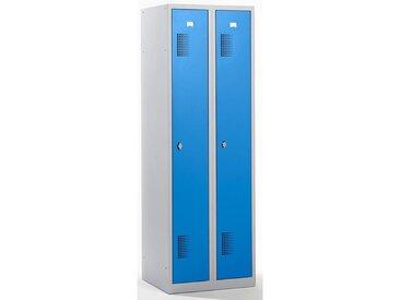 QUIPO Vestiaire - largeur 600 mm, 2 compartiments de 298 mm, dispositif porte-cadenas - corps gris clair / portes bleu