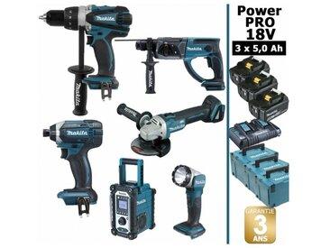 Pack Power PRO Makita 6 outils 18V: Perceuse DDF458 + Visseuse à choc DTD152 + Meuleuse DGA504 + Perforateur DHR202 + Radio DMR108 + Lampe Torche LED + 3 batt 5Ah + 3 Coffrets Makpac