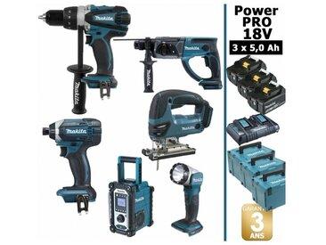 Pack Power PRO Makita 6 outils 18V: Perceuse DDF458 + Visseuse à choc DTD152 + Perforateur DHR202 + Scie sauteuse DJV180 + Radio DMR108 + Lampe Torche LED + 3 batt 5Ah + 3 Coffrets Makpac