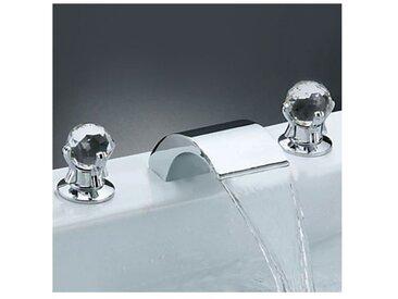 Robinet de lavabo avec deux poignées, design contemporain fini en chrome