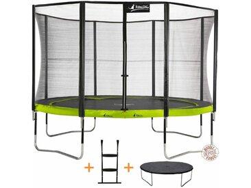 Kangui - Trampoline de jardin rond 430 cm + filet de sécurité + échelle + bâche de protection PUNCHI Vert 430 - Vert