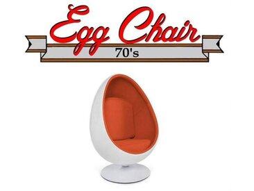 Fauteuil pivotant Oeuf, Egg chair coque blanche / intérieur velours orange Design 70's.