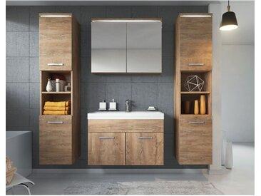 Meuble de salle de bain Paso xl Lefkas (Marron) 80x40 cm – Armoire de rangement Meuble lavabo evier Meuble lavabo