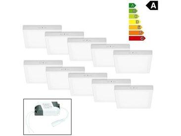 ECD Germany 10-pack Plafonnier LED 18W AC 220-240 V 1162 lumen 220 x 220 mm angle de 160 ° IP53 Blanc Chaud Angulaire