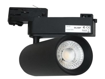 Spot LED sur Rail 30W 80° COB Triphasé NOIR - Blanc Chaud 2300K - 3500K