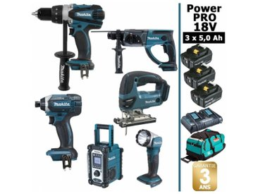 Pack Power PRO Makita 6 outils 18V: Perceuse DDF458 + Visseuse à choc DTD152 + Perforateur DHR202 + Scie sauteuse DJV180 + Radio DMR108 + Lampe Torche LED + 3 batt 5Ah + sac