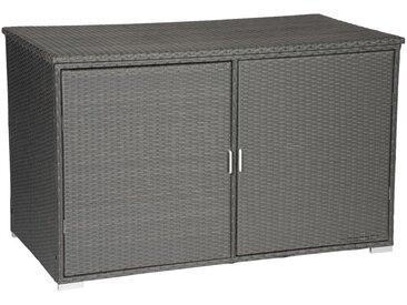 Coffre de rangement en résine tressée grise avec portes NONZA