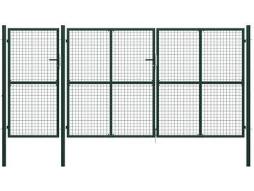 Hommoo Portail de jardin Acier 400 x 200 cm Vert