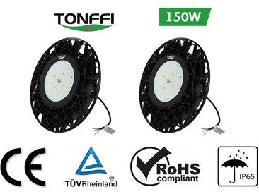 2×Tonffi 150W Thare de Travail LED UFO Spot LED 18000LM Projecteur Industriel Rond IP65 Étanche pour Extérieur et Intérieur Blanc Froid 6000K Certification CE TÜV ROHS