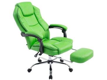 Fauteuil de bureau ergonomique en similicuir vert avec repose-pieds et accoudoirs