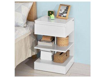 Bout de Canapé Table d'appoint Table de chevet avec 1 tiroir et 2 étagères de rangement FBT49-W SoBuy®