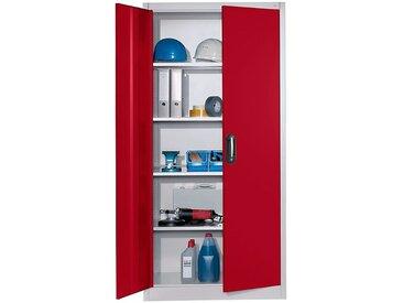 CP Armoire à portes battantes, h x l 1950 x 930 mm - profondeur 600 mm - coloris portes rouge - Col. tablette: galvanisé|Col. des portes: Rouge