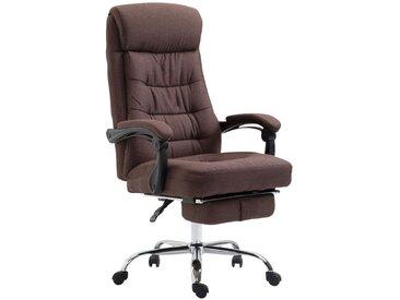 Fauteuil de bureau ergonomique en tissu marron avec repose-pied extensible
