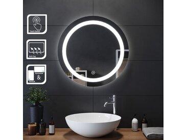 SIRHONA 60x60cm Miroir de maquillage monté sur mur avec miroir éclairé rond et miroir de salle de bains avec contr?le par capteur, anti-poussière et anti-buée, lumière blanche froide