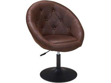 Fauteuil oeuf capitonné design tissu aspect cuir velours chaise bureau marron foncé