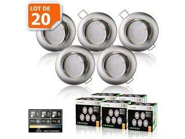 20 SPOTS LED DIMMABLE SANS VARIATEUR 7W eq.56w BLANC NEUTRE ORIENTABLE ALU BROSSE