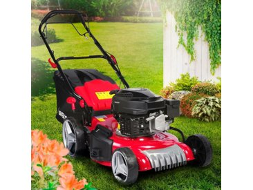Brast - Tondeuse thermique autotractée 46 cm 170cc 2800trs /min, moteur de marque 4 temps, 60 l, réglage central 30-80mm, capot en tôle en acier, 4 en 1 – édition rouge de