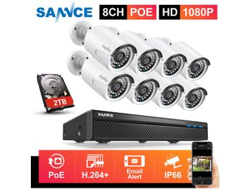 SANNCE Système de sécurité vidéo en réseau PoE 1080P FHD, surveillance NVR 8CH 5MP avec compression vidéo H.264 + caméras résistantes aux intempéries 1080P HD 8 caméras – 2TB