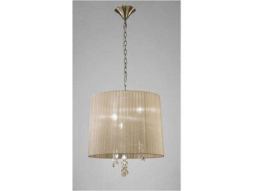 Suspension Tiffany 3+3 Ampoules E14+G9, laiton antique avec Abat jour bronze & cristal transaparent