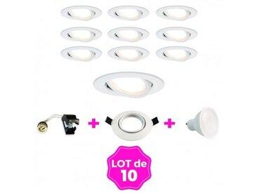 10 Spots encastrable orientable BLANC avec GU10 LED de 7W eqv. 56W Blanc Froid 6000K