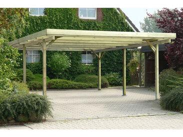 Carport double en bois traite, 6 poteaux de 9x9x210 cm, 500x500 cm ht. 233 cm, hauteur de passage de 205 cm, largeur de passage de 440 cm, toiture en pvc ondule transparent