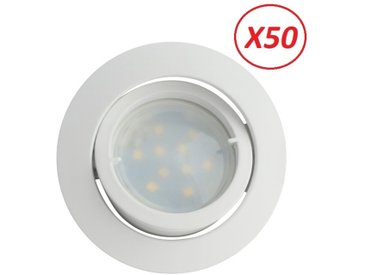 Lot de 50 Spot Led Encastrable Complete Blanc Orientable lumière Blanc Neutre eq. 50W ref.888