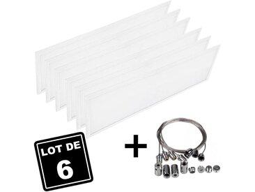 Lot 6 Dalles LED 40W 120x30 PMMA Blanc Neutre 4000k + 6 Kits Câbles de Suspension