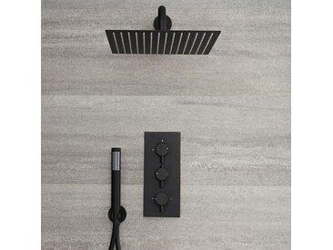 Hudson Reed - Kit de Douche - Mitigeur Thermostatique Encastrable 2 Fonctions, Pommeau de Douche Carré 30 x 30cm et Douchette - Noir - Nox