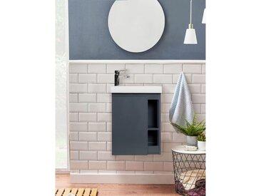 Meuble Lave-mains Gris Avec Vasque Blanche En Résine L41,5 X H53 Hampton
