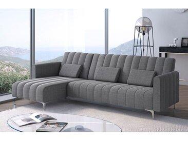 Canapé-lit chaise longue Milano 267cm, convertible en lit, gris clair avec rayures.