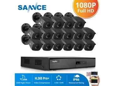 SANNCE Système de caméra de sécurité CCTV 1080N avec 5-en-1 1080N H.264 DVR et caméras de sécurité 16 * 1080P HD - Ne contient pas de disque dur