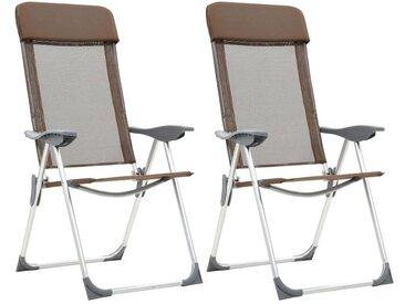 Hommoo Chaises de camping pliables 2 pcs Marron Aluminium
