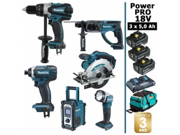 Pack Power PRO Makita 6 outils 18V: Perceuse DDF458 + Visseuse à choc DTD152 + Perforateur DHR202 + Scie circulaire DSS610 + Radio DMR108 + Lampe Torche LED + 3 batt 5Ah + sac