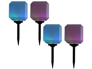 Hommoo Lampes solaires cubiques à LED d'extérieur 4 pcs 20 cm RVB