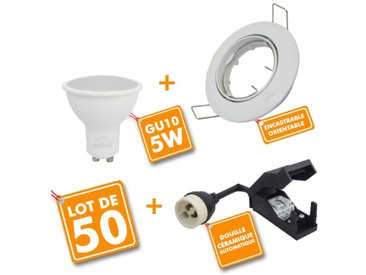 Lot de 50 Spot encastrable orientable blanc avec GU10 LED de 5W eq 40W | Blanc froid 6000K