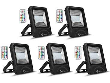 5×Anten 50W RGB Projecteur LED IP65 Étanche Lampe Halogène 16 Couleurs 4 Modes, Ultra-Mince Spot Éclairage Dimmable Extérieur, Spot LED Multicolore avec Télécommande (Boîte de Jonction Fournie)