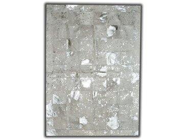 Tapis argenté sur peau de vache naturelle patchwork Linares Argenté 180x240 - Argenté
