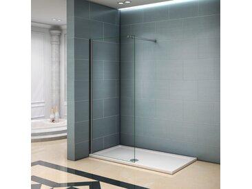 Paroi de douche 90x200cm avec barre de fixation 140cm paroi de douche à l'italienne verre anticalcaire