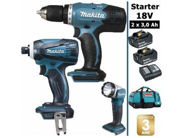 Pack Makita Starter 18V: Perceuse 42Nm DDF453 + Visseuse à choc 160Nm DTD146 + Lampe torche DEADML802 + 2 batteries 3Ah + sac MAKITA