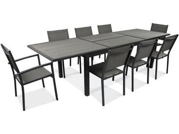 Table de jardin extensible 10 places en aluminium et polywood - Gris