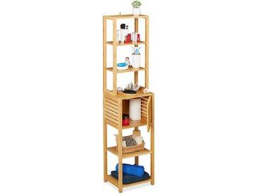 Etagère de salle de bain en bambou, 7 rangements,1 compartiment avec porte, cuisine, 149 x 35 x 29 cm, naturel
