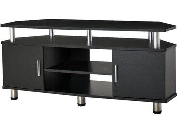 Homcom - Meuble banc TV design contemporain multi-rangements : 2 portes niche centrale étagère grand plateau 120L x 40l x 52H cm noir chromé