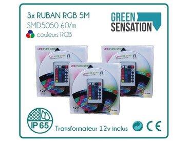 Lot de 3 Kits Ruban à LED RGB 5 mètres + télécommande + Transformateur 12V IP65