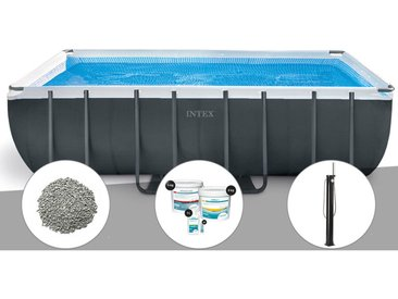 Kit piscine tubulaire Intex Ultra XTR Frame rectangulaire 5,49 x 2,74 x 1,32 m + 10 kg de zéolite + Kit de traitement au chlore + Douche solaire