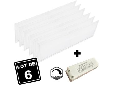 Lot 6 Dalles LED 40W 120x30 DIMMABLE Blanc Foid 6000k - X6DL120X3040W6KDIMM