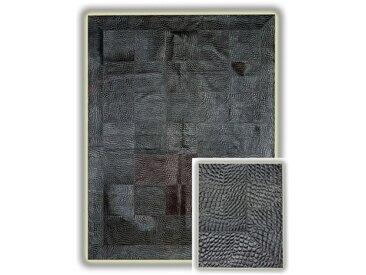 Tapis en peau de vache avec relief noir Arona Noir 180x240 - Noir