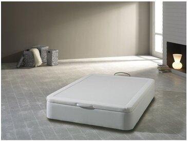 Sommier coffre tapissier 140x190cm en simili-cuir blanc BALEA - L 190 x l 140 x H 32 - Blanc