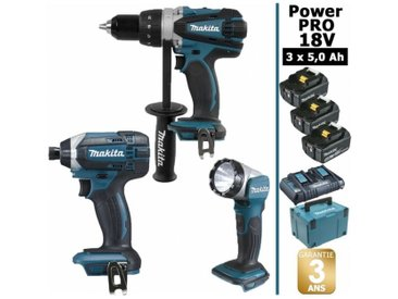 Pack Power PRO 18V: Perceuse 91Nm DDF458 + Visseuse à chocs 165Nm DTD152 + Lampe Torche LED 180lm DEADML802 + 3 batt 5Ah + coffret MAKPAC MAKITA