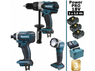Pack Makita Power PRO 18V: Perceuse 91Nm DDF458 + Visseuse à chocs 165Nm DTD152 + Lampe Torche LED 180lm DEADML802 + 3 batt 5Ah + coffret MAKPAC MAKITA